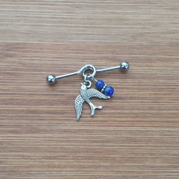 Bird Swallow - Lapis Lazuli Nuggets OR beads - Industrial Barbell Piercing 14G