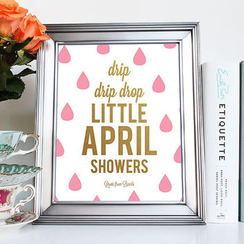 Disney Bambi Quote Art Print for Kids Room, Nursery, Home Typography Little April Showers Pink Wall Art - Printable PDF, JPG Digital Files