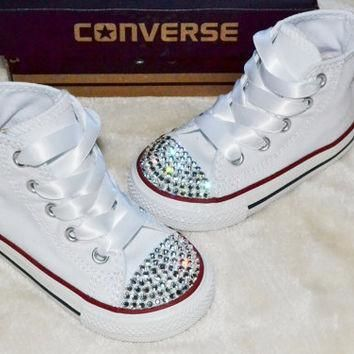 Customised Crystal White High Top All Star Converse Blinged Crystal Toes, Ribbon Laces