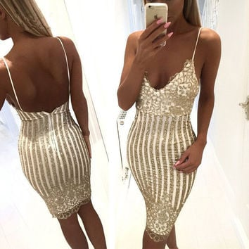 Sexy V-Neck Strap Hollow Sequin Bodycon Fashion Mini Dress