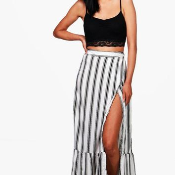 Myah Wrap Front Woven Maxi Skirt | Boohoo