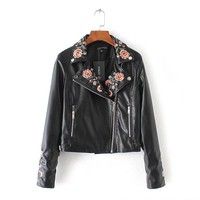 fashion embroidered leather jacket