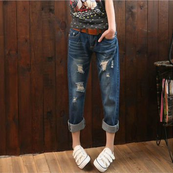2016 New Casual Boyfriend Jeans loose Straight Patch holes Pants  Ankle-Length Harem Warm Women Clothing Jeans Korean Style