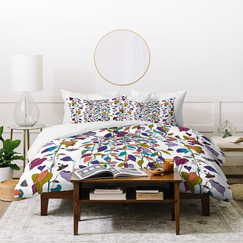 Rachelle Roberts Endless Vines White Duvet Cover