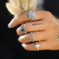4 PCS/Set Vintage Bohemian Turkish Midi Ring Set Steampunk Round Ring Knuckle Rings Women Anel Joint  anillos anillos  JM0510