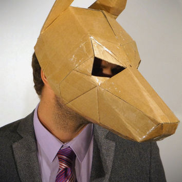 Make your own dog mask from recycled card