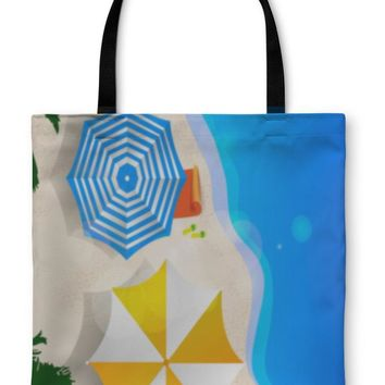 Tote Bag, Couple of Umbrellas on the Beach Graphic Art