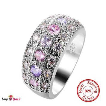 Pink & Purple CZ Diamond Solitaire Ring 925 Sterling Silver Engagement Ring