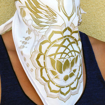 Sacred Geometry Bandana - White With Gold Ink - Lotus Honeycomb Design