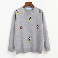 Fashion Preppy Style Cute Cartoon Embroidery Pattern Loose Sweaters