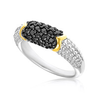 18K Yellow Gold & Sterling Silver Popcorn Ring with Black Diamonds: Size 7