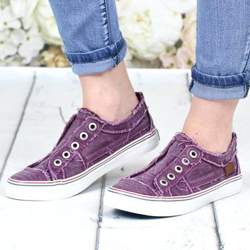 Play Hard Slip On Sneakers {Deep Plum}