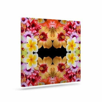 "Danii Pollehn ""Flower Caleidoscope"" Yellow Orange Contemporary Floral Photography Digital Art Canvas"