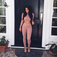 Clothes Drop Shipping 2016 New Sexy 2 Pieces Set O-neck tigh short  Long Sleeves crop top and pants set sexy club wear women Ban