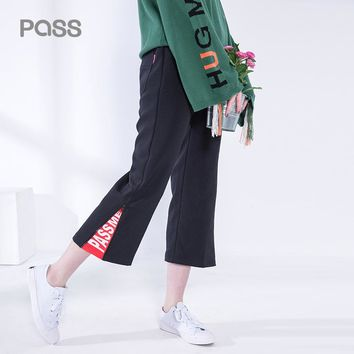 Autumn Fashion Women Wide Leg Pants Loose Cotton Letter Print pants Casual Mid Waist Wide Leg Pant