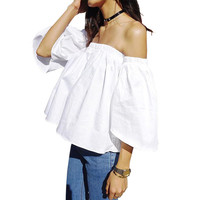 Summer 2016 Sexy off shoulder white blouse shirt Ruffles slash neck cotton girls blouse Women tube tops tees short casual