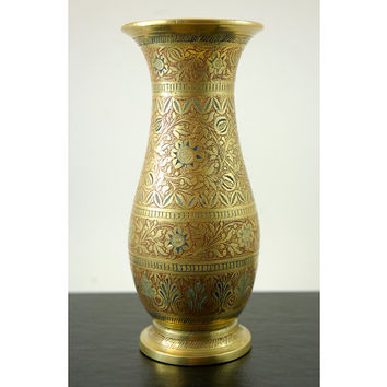 Vintage Brass Vase, 6 Inch Tall Brass Vase with Etched and Enameled Floral Design, Made in India H.K 94F