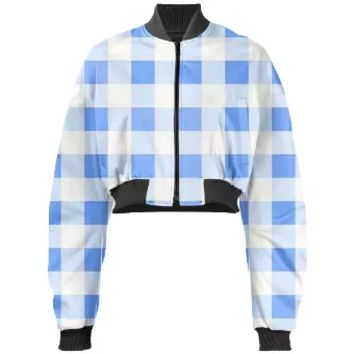 SKY BLUE GINGHAM Cropped Bomber Jacket
