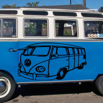 VW Bus Bulli, VW-Transporter Hippie flower child Bohemian beatnik free spirit dropout Woodstock Joy Car vinyl graphics Sticker tr103