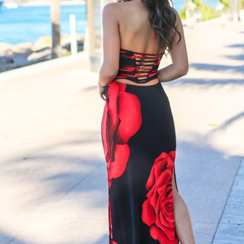 Black and Red Floral Maxi Dress with Strappy Back