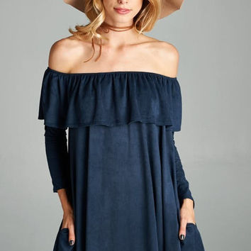 Navy Suede Ruffle Off The Shoulder Dress
