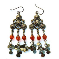 Orange and gold glass and metal jewelry. Bohemian dangle earrings.