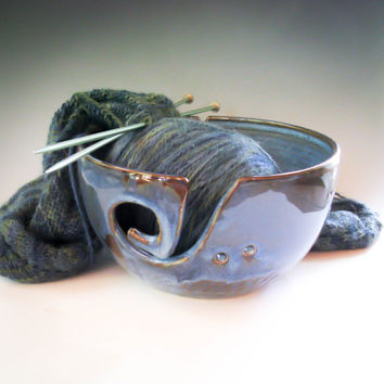 Blue Yarn Bowl, Large Knitting Bowl, Pottery Crochet Bowl - handmade ceramics