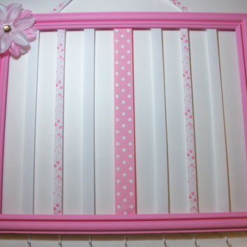 Girls hair bow and headband organizer, hair bow holder, picture frame, pink and white, tropical lily embellished