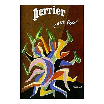 perrier vintage ad poster by villemot MODERN ART COLORFUL FRENCH 24X36 hot