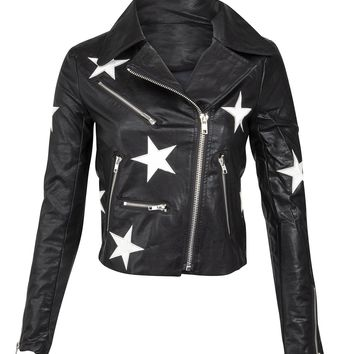 Star Child Black Faux Leather Moto Jacket