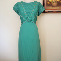 Vintage 1960s Teal Green Crepe Dress with Lace Trim