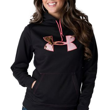 Under Armour® Women's Black with Pink Camo Logo Tackle Twill Hoodie