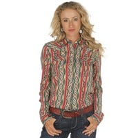 Women's Wrangler Pink And Turquoise Aztec Buttondown Top
