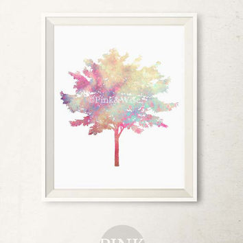 Tree Printable art, Multicolored Tree art print, Bedroom decor, Printable wall art, Nature wall decor Tree print, Bathroom wall art DOWNLOAD