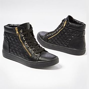Black (BK) Quilted Mid Top Sneaker