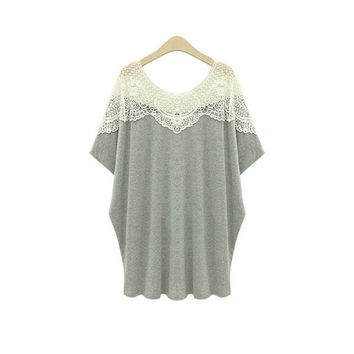Plus Size Ladies Women Lace Crochet Cotton Short Sleeve Baggy Long Blouse Tops Shirt = 1946522756