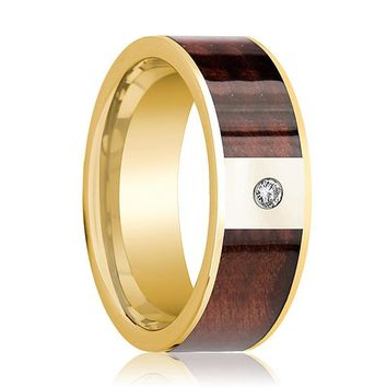 Mens Wedding Band Polished 14k Yellow Gold Flat Wedding Ring with Red Wood Inlay & Diamond - 8mm