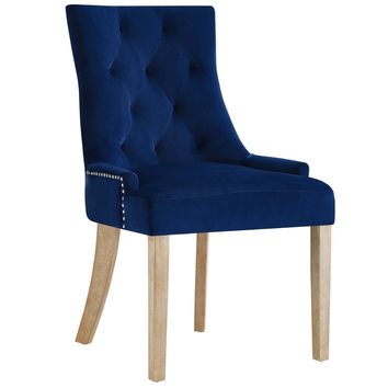Pose Upholstered Fabric Dining Chair In Navy Blue