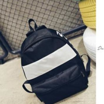 Student Backpack Children Korean version of the new black and white color trend backpack men and women general junior high school shoulders student bags AT_49_3
