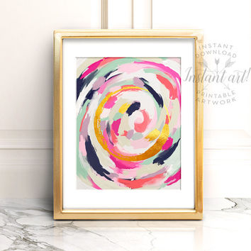 Abstract art PRINTABLE art instant download, Brushstroke art,Glam decor,navy blue,Pink and gold,abstract print,abstract,Glam prints,Instant