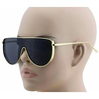 XL Vintage Retro Metal Flat Top Aviator Round Oversized Mens Womens Sunglasses