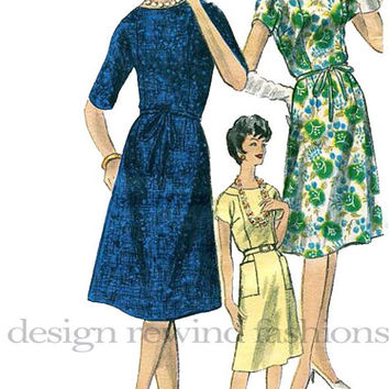 1960s Vogue 5491 Dress w/ Slightly Flared Skirt, Short or 3/4 Length Kimono Sleeves & Optional Pockets Bust 38 UNCUT Vintage Sewing Pattern