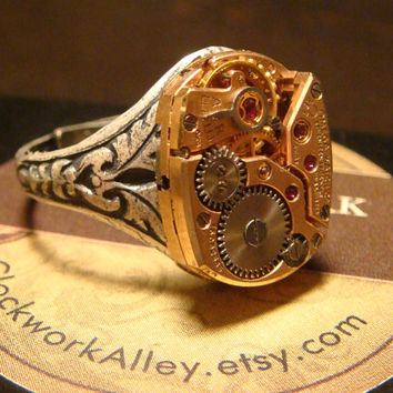 Steampunk Clockwork Watch Movement Ring with Exposed Gears (1329)
