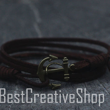 SALE! Anchor Bracelet / Dark Brown Bracelet / Sea Nautical Suede Bracelet / Marine Bracelet / Mens Bracelet / Women Nautical Men Bracelet