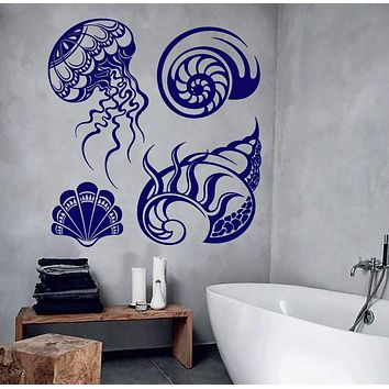 Vinyl Wall Decal Shells Marine Style Bathroom Design Jellyfish Stickers Unique Gift (787ig)