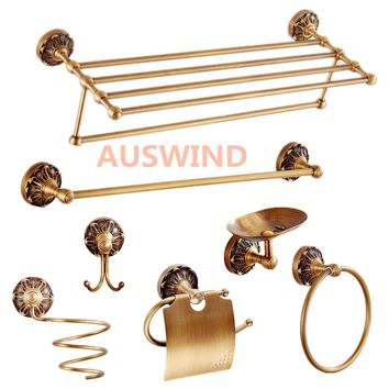 AUSWIND vintage bronze Carved brass round base brush bathroom products wall mount bathroom hardware set F67
