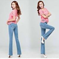 Free Shipping High Quality Promotion Summer Thin Women's Slim Mid Waist Boot Cut Jeans Fashion Bell Bottom Trousers Flares Pants