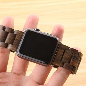 New arrival Apple watch band quality wooden watchband 24mm black brown strap for Apple iwatch Series Series 3/2/1 42mm 38mm