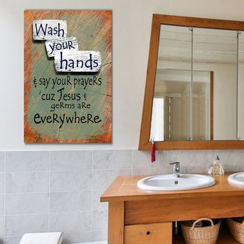 Bathroom Art Wash Your Hands Say Your Prayers Canvas Wall Art Bathroom Decor