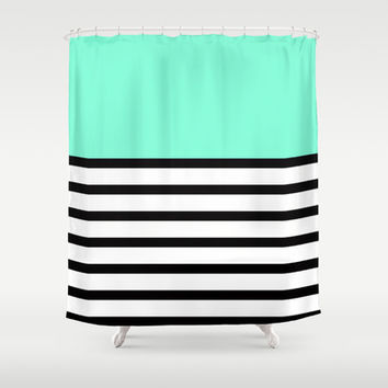 Tiffany Black and White Stripes Pattern Shower Curtain by RexLambo